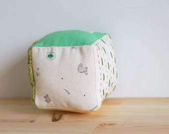 Small soft baby block, sensory block, soft baby cube, fabric block - green and beige