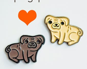 PUG pin set, lapel pin set, cute collar pins, pet gift for her, enamel pin set, funny pug gift set, pug lovers gifts, enamel dog pin