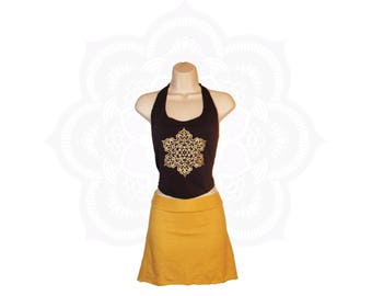 Organic Halter Top- Organic Cotton and Bamboo - Mandala print -Hand dyed in your choice of 15 different colors - Crop top