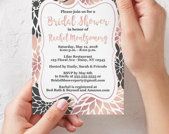 Rose Gold Bridal Shower Invitation Hens Night Floral Invite Bachelorette Printable 5x7 Digital JPG File (605)