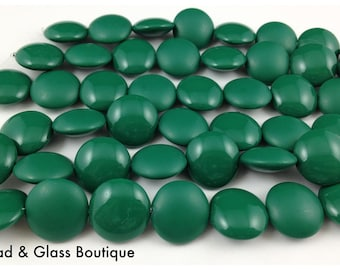 Czech Glass Cushion Round Bead, 14mm Lentil Shape, 1 strand = 8 beads, Bottle Green