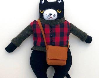 Black & White Kitty Boy wool doll plush outdoor hiker
