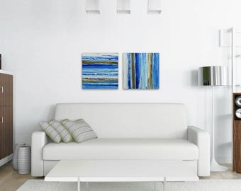 "TW0 Abstract Paintings ""Aqua 11 + Aqua 14"" by Lisa Carney, Modern Art, Minimalist Painting, Stripes, Geometric, Contemporary, Diptych, Pair"