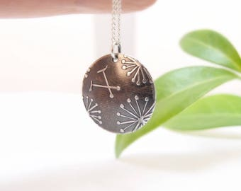Sterling Silver Pendant Necklace Domed Pendant Disc Pendant Round Pendant Floral Pendant Dandelion Flower Pendant Bridesmaid Gift