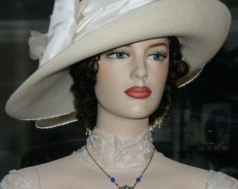 Ascot Hat Kentucky Derby Hat Wide Brim Tea Hat Titanic Hat Somewhere in Time Hat Downton Abbey Hat Edwardian - Lady Olivia