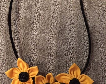 Yellow Black Button Fabric Flower Statement Necklace