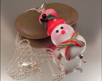Ginnovations lampwork, Cheery Snowman pendant, optional sterling chain upgrade