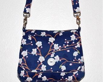 Sakura Mini Messenger Bag - Cherry Blossoms, Springtime Purse, Navy Blue & Pink, White Pink Flowers, Sakura Tree, Japanese Inspired Purse