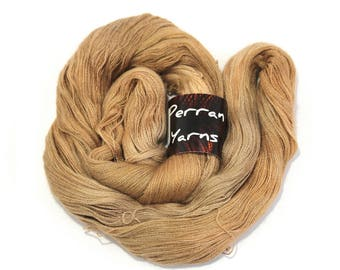 Alpaca silk cashmere Heavenly Lace handdyed variegated laceweight Perran Yarn, Sweet Chestnut pale coffee chocolate brown 2ply, uk seller