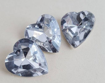 Vintage clear large heart faceted pointed back stones
