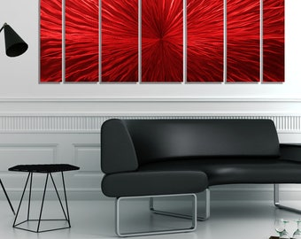 Huge Red Modern Metal Wall Art, Abstract Contemporary Painting, Home and Office Decor, Indoor Outdoor Art  -  Intensity 7 XL by Jon Allen
