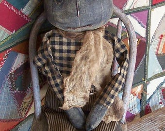 Black Pumpkin Doll, Primitive Halloween Doll, Rustic Boy Rag Doll, Handmade American Folk Art - READY TO SHIP