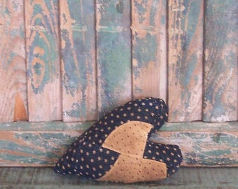 Rustic Heart, Antique Quilt Primitive Heart Ornament, Farmhouse Heart, Americana Decor, Blue White Stars - READY TO SHIP