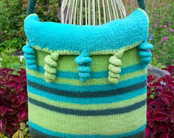 TWIRL Whirlpurse - handdyed handspun knit crocheted felted purse