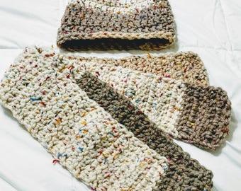 Handmade Crochet Women's  Hat and Scarf Set