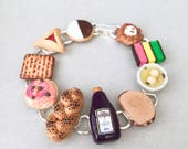 Epic Jewish Food Bracelet - MADE TO ORDER - polymer clay miniature food jewelry