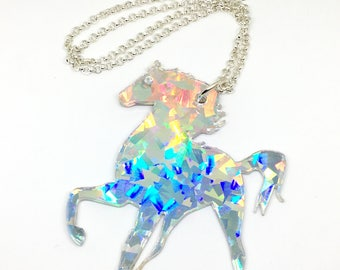 Hologram Jumbo Unicorn Acrylic Necklace - OOAK Prototype, Super Awesome Rainbow Unicorn Holo Burst Statement Necklace