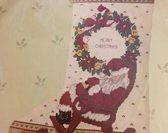Christmas Stocking Cross Stitch Kit ROCKING CHAIR SANTA Candamar Designs Sealed