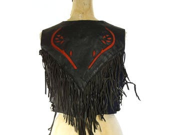Fringe Leather Biker Vest with Rose Cut Outs / Vintage 1990s Genuine Leather Motorcycle Vest / Distressed Worn In Rocker Hippie Boho Lace Up