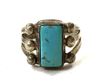 60s Navajo Turquoise & Sterling Silver Ring / Vintage Old Pawn Native American Jewelry / Size 5.25 / Small Thin Finger Pinky Ring