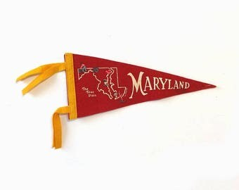 Vintage Maryland Felt Pennant The Tree State Map Souvenir