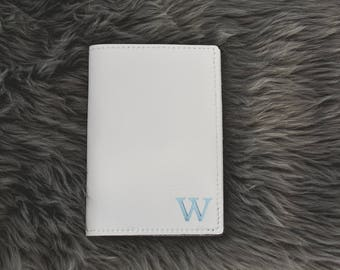 Bridal Leather Passport Holder with Personalized Initial Travel Gift for Wife Sister Friend Her Woman Bride Bridesmaid Destination Wedding