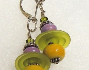 WOODLAND Handmade Lampwork Bead Dangle Earrings