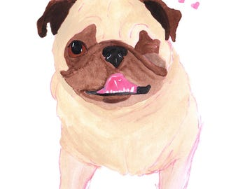 Pug Dog Lover Art Gift, Anniversary Gift For Him And Her, Long Distance Romantic Gift, Pug Print, Pet Loss Gift, Cute Gifts For Her Under 30