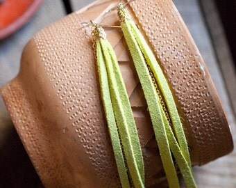 leather earrings - chartreuse leather tassel and chain