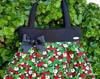 "Strawberry Purse, Strawberry Handbag, Fruit Purse, Shoulder bag-""Strawberry Blossom"""
