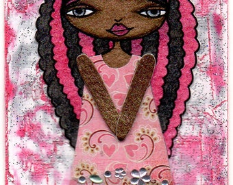 ACEO/ATC - Black & Pink Curly Haired Girl