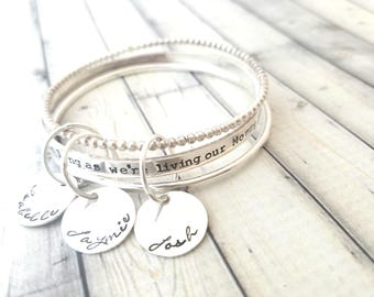 stacking bangles- personalized bangle- personalize bracelet-as long we're living our mommy youll be-gift for mom