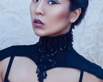 SALE Black Mesh Beaded Posture Collar