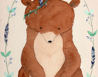 Gentle Protector - Bear Art Print