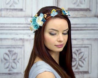Blues and White Flower Crown, Blue Floral Headpiece, Bridal Crown, Woodland, Rustic Crown, Floral Circlet, Boho, Fairy, Elven, Cosplay