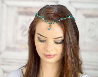 Gold Elven Crown in Teal, Crystal Tiara, Costume Headdress, Elven Tiara, Fairy Crown, Cosplay Headpiece, Diadem, Gold Circlet, Renaissance