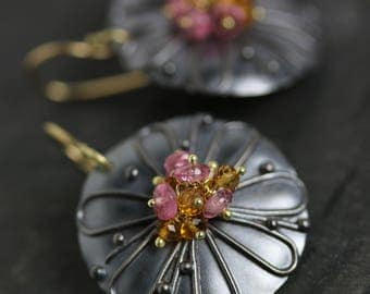 Midnight Daisy Earrings with Pink Tourmaline and Spessartite Garnet. 18k and Oxidized Silver.