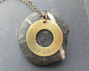 five deep breaths washer . a hand stamped soul mantra necklace