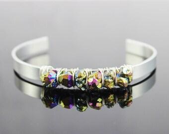 Rainbow Pyrite Cuff Bracelet, Raw Gemstone Bracelet, Beaded Bangle Bracelet, Silver Cuff Bracelet, Silver Bangle Bracelet, Wire Wrapped