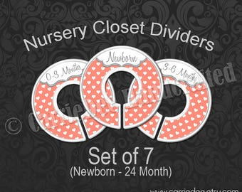 Coral Hearts Nursery Closet Dividers, Baby Closet Dividers, Baby Clothes Organizers, Baby Shower Gift, Gender Neutral Baby