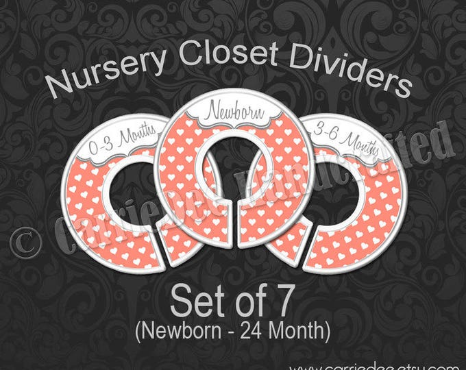 Coral Hearts Nursery Closet Dividers, Baby Closet Dividers, Baby Clothes Organizers, Baby Shower Gift, Gender Neutral Baby