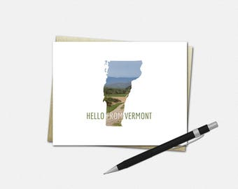 Vermont Note Cards - Vermont Cards - Hello From Vermont Note Cards - Vermont Stationery