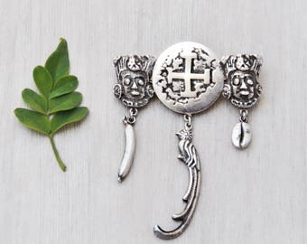 Vintage 900 Silver Charm Brooch - Guatemalan pin with real Spanish coin center - banana, quetzal bird, coffee bean charms