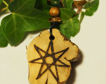 Rare ROSEMARY WOOD Fairy Star Pendant for Remembrance & Protection - For Witches, Wiccans and Pagans, Elven Star, Septagram