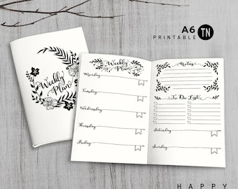 Printable A6 Insert - A6 Travelers Notebook Insert - A6 weekly insert, Weekly Traveler's Notebook Insert - Leaves