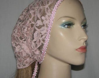 Mauve Kerchief Head Covering | Head Wrap  | Bandanna | Tichel | Lace Scarf | Mitpachat | Headcovering | Veil | Hair Cover | Modest Wear