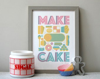 Make Cake A4 - 3 colour Screen Print