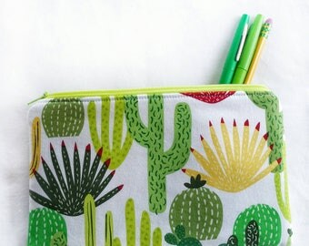 cactus zipper pouch, succulent school pencil or art supply bag, perfect for medication, epi-pen, or travel cosmetic makeup cacti purse