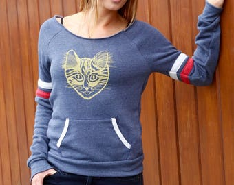 Off Shoulder Top, Women Slouchy Top, Slouchy Sweatshirt, Cat Sweater, Cat Sweatshirt, Retro Inspired Top, Yoga Sweatshirt