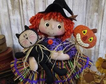 Primitive Raggedy Annie Witch doll w/ Black Kitty & Jack-o-Lantern